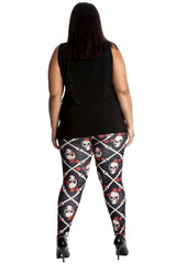 7177 Pirate Skull & Roses Leggings
