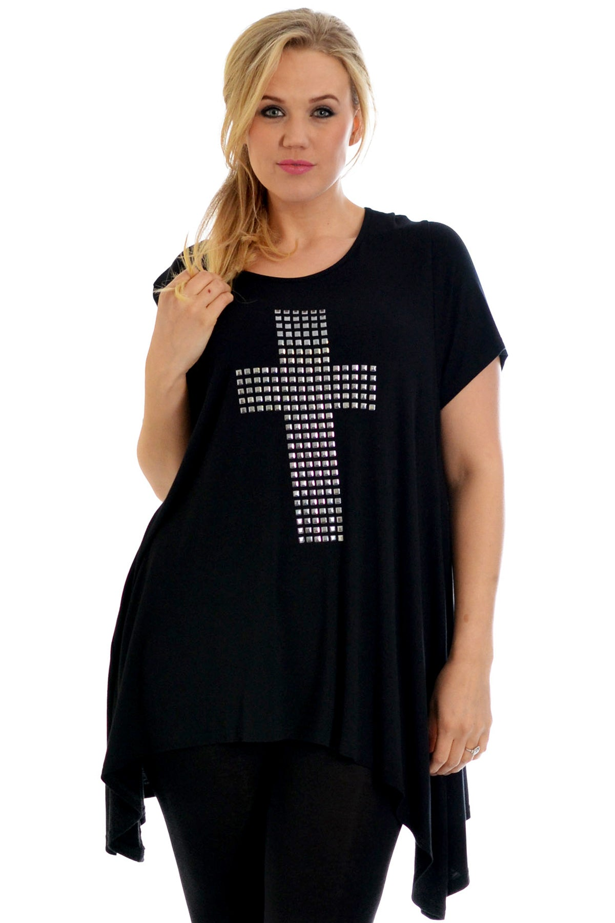 1152 Cross Metallic Stud A-Line Top