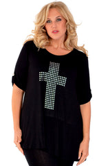 1109 Metallic Cross Stud Top