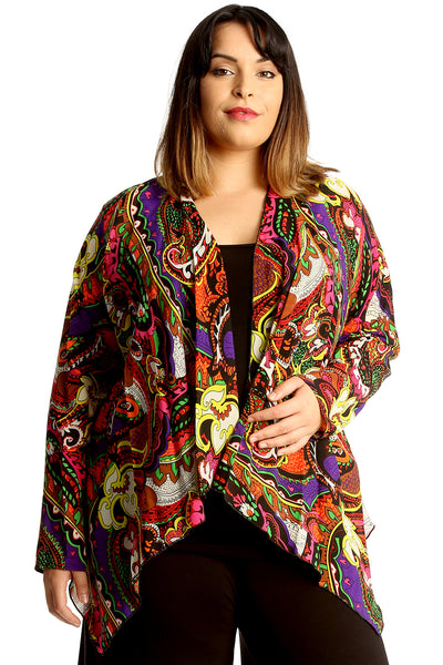 3256 Paisley Print Open Front Cardigan