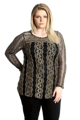 1562 Gold Frill Lace Top