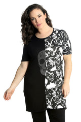 1555 Twin Skull Stud & Roses Top