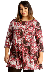 1662 Bold Paisley Print Swing Top