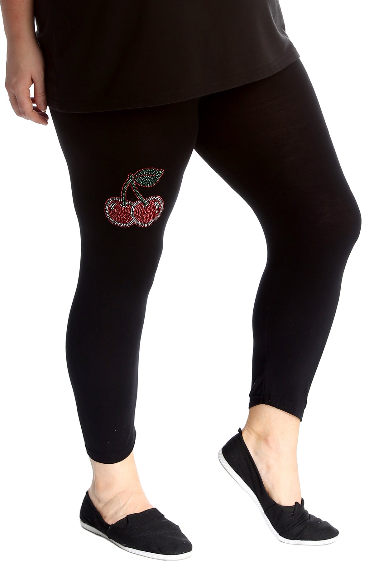 7212 Cherry Stud Cropped Leggings