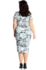2228 Abstract Print Bodycon Dress