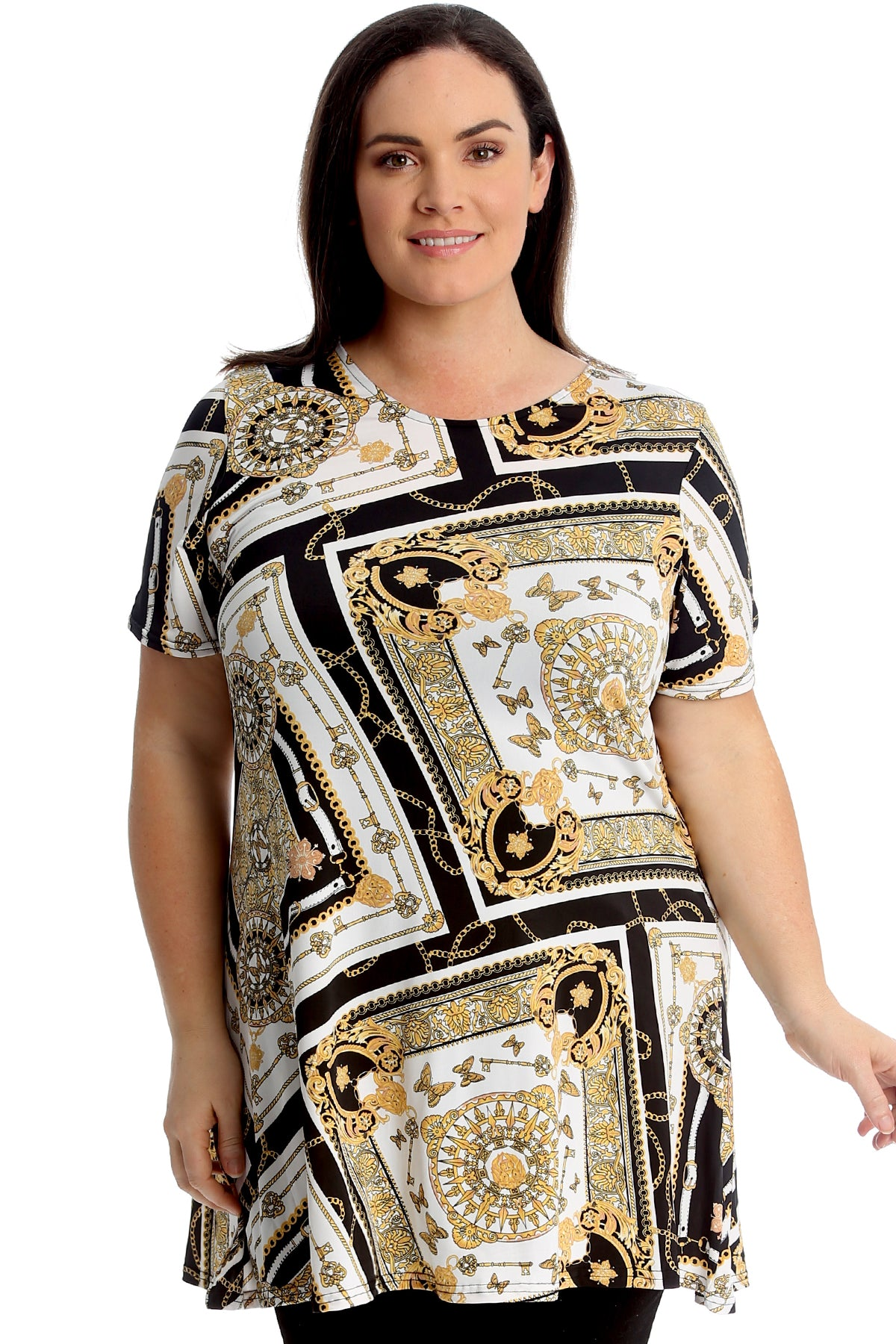 1724 Butterfly Key & Chains Print Swing Top
