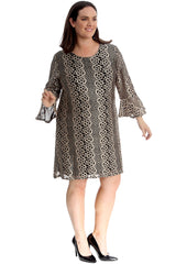 2284 Bell Sleeve Crochet Lace Tunic