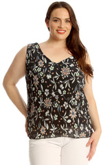 Crinkle Multi Floral Print V Neck Top