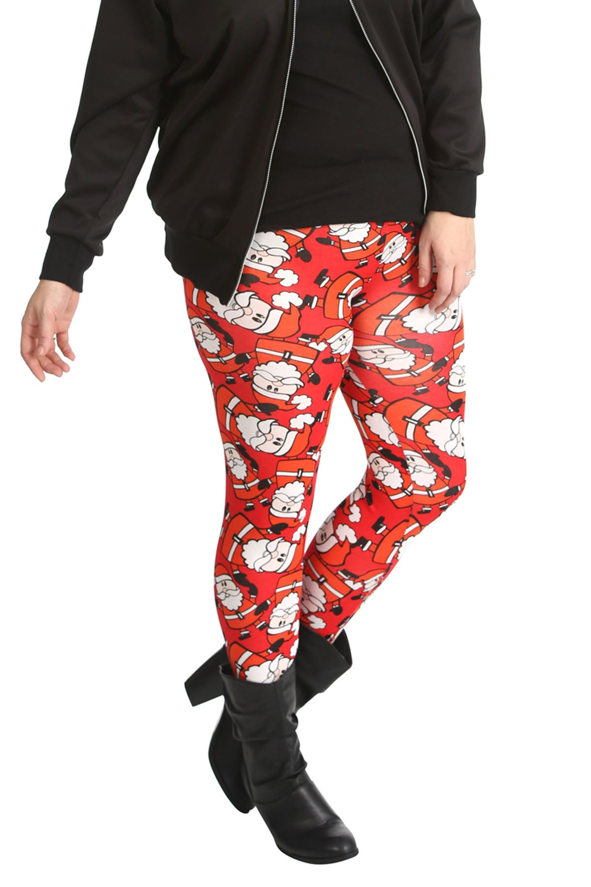 7132 Santa with Hat Print Leggings