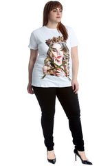 1654 Princess Graphic Print Applique T-Shirt