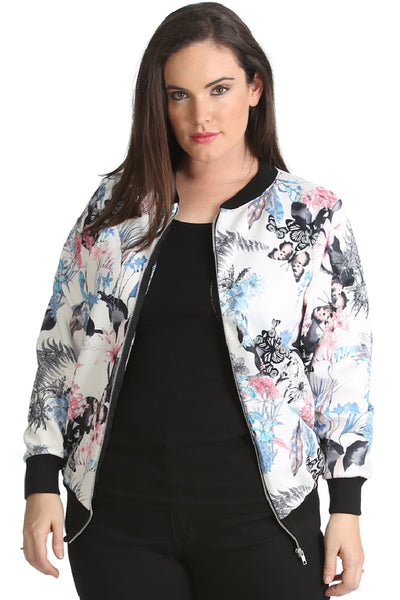 3185 Floral & Butterfly Print Bomber Jacket