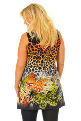 1065 Jungle Print Stud Neck Top