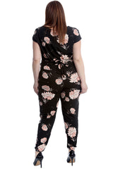 8042 Floral Print Side Pocket Jumpsuit