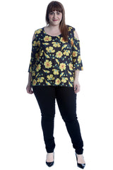 1651 Yellow Flower Print Cold Shoulder Bell Sleeve Top