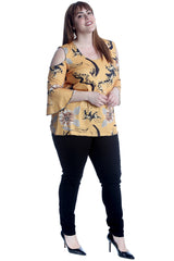 1652 Flower Print Cold Shoulder Bell Sleeve Top