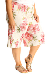 6132 Floral Print Crinkle Culottes