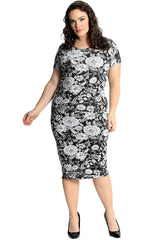 2229 Monochrome Floral Print Dress