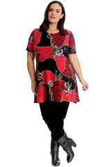 1723 Animal Abstract Print Swing Top