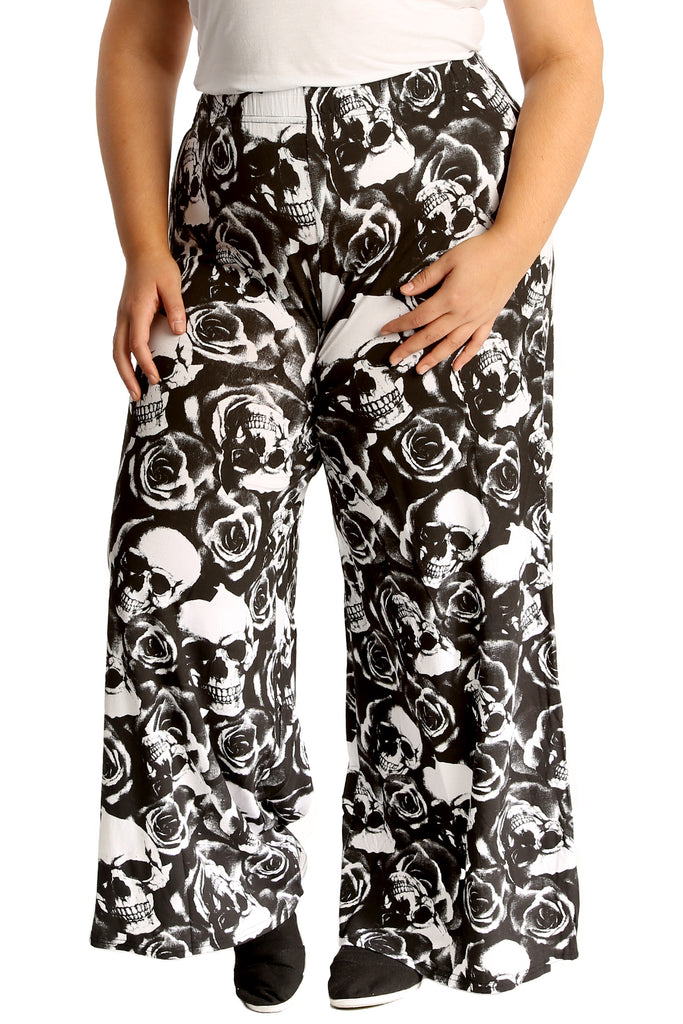 3548a1ac3dd Skull   Roses Print Palazzo Trouser – Nouvelle Plus Size