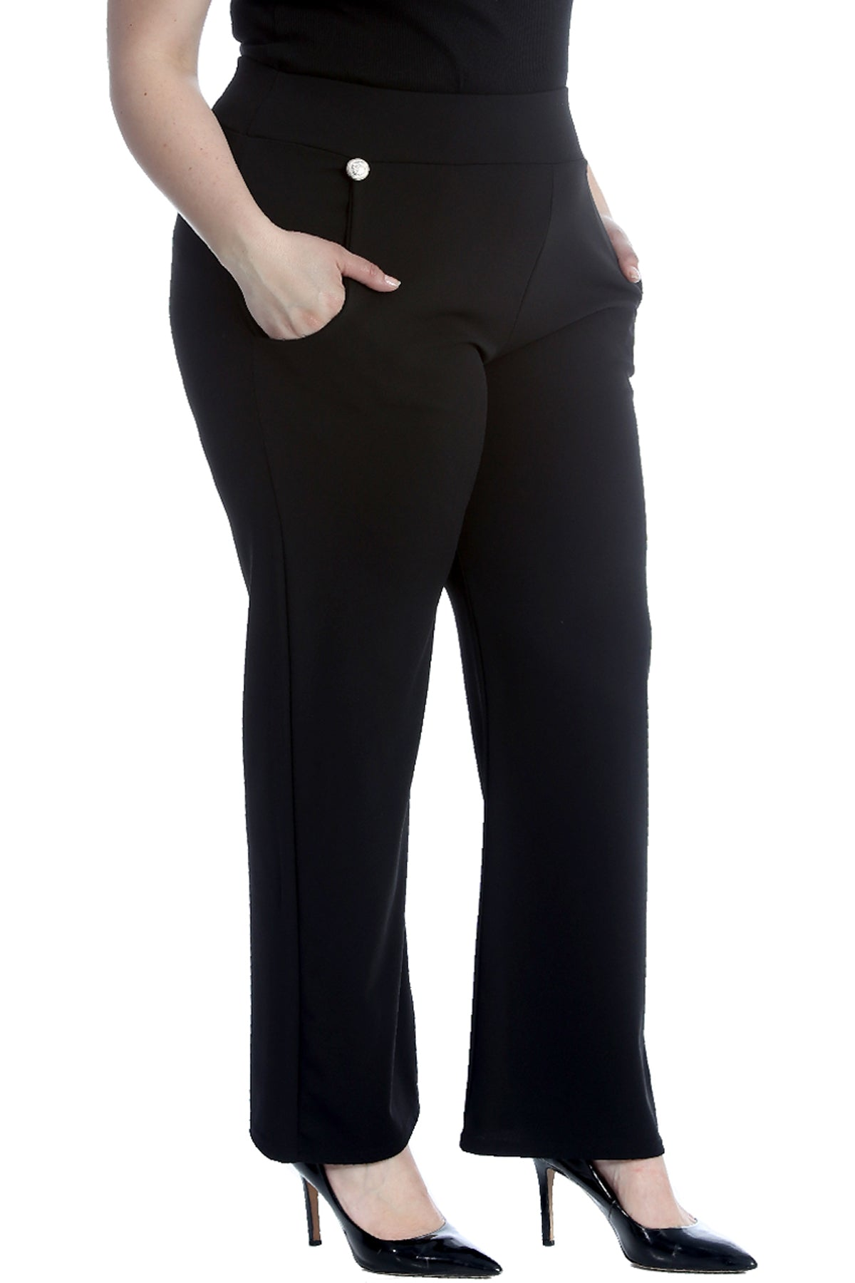 6091 High Waist Side Pocket Trousers