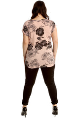 Floral Print Turnup Sleeve T-Shirt
