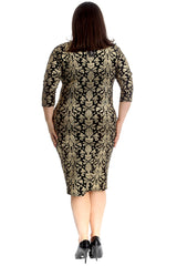 2283 Lurex Paisley Print Midi Dress