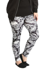 7129 Sugar Skull Print Leggings