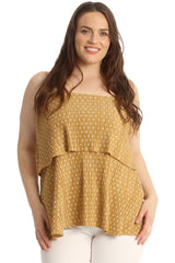 Polka Dot Pleated Frill Top