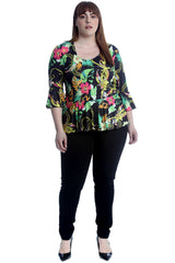 1526 Paisley & Chain Print Frill Top