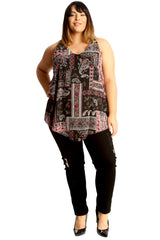 1687 Abstract Paisley Print A-Line Top