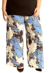 6110 Floral Paisley Print Palazzo Trouser