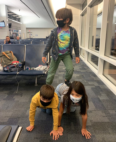 Goofing off at the airport