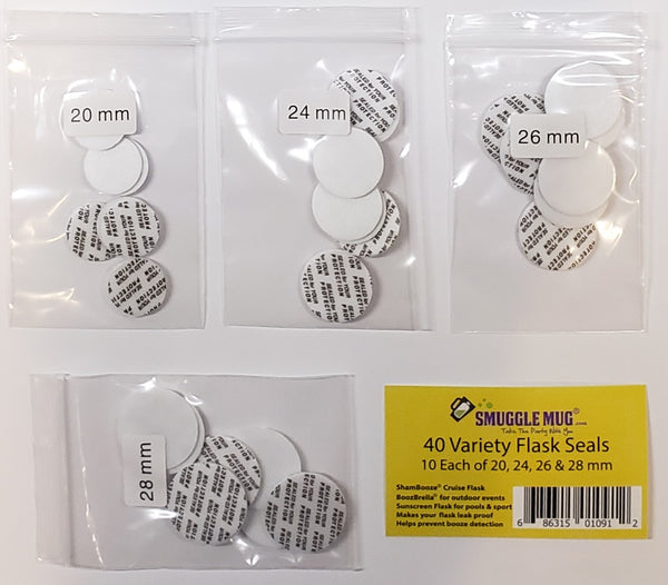40 Variety Flask Lid Seals- 20mm, 24mm, 26mm, 28mm