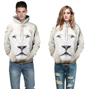 Unisex 3d Sweatshirt Hooded White Lion