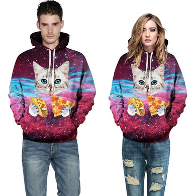 Cat Space Galaxy 3d Sweatshirts Unisex