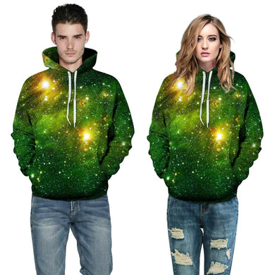 Unisex 3d Sweatshirts Green Space Galaxy
