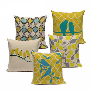 Fashion Yellow Pillow Covers Love Bird