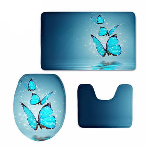 Set 3D Butterfly Covers Mats  For Bathroom