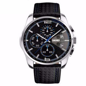 Men's Sports Quartz Watch With Leather Band