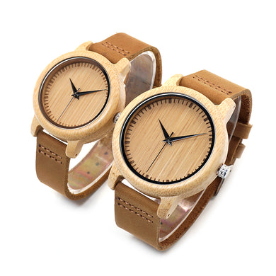 Women's & Men's Casual Natural Bamboo Quartz Watch