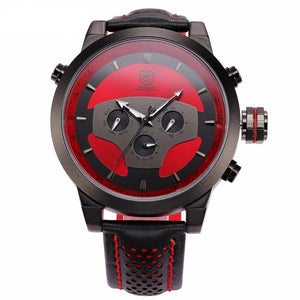 Men's Quartz Sport Watch Leather Strap