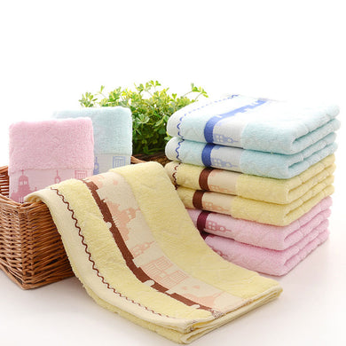 2pcs Set Castle Pattern Soft Cotton Thick Towels Face