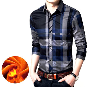 Winter Casual Warm Men Plaid Shirt