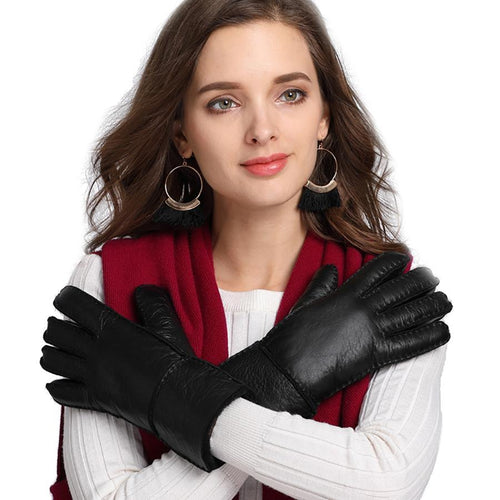 Winter Leather Mittens For Women