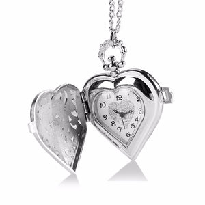 Luxury Hearts Hollow Crystal Quartz Pocket Watch For Ladies