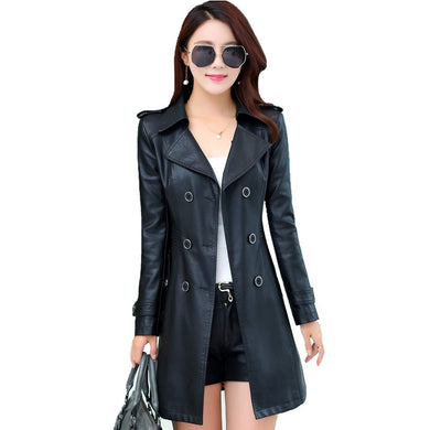 Women's Medium Long Leather Coats