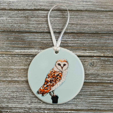 Hand Painted Barn Owl Silver Ceramic Ornament