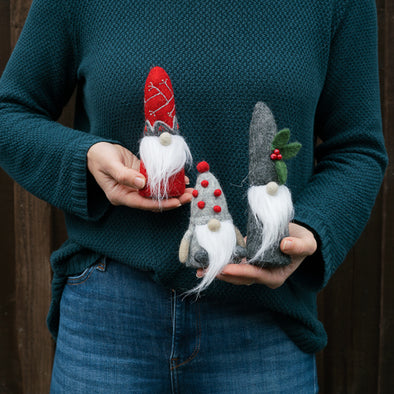 Gnome Friends Felted Wool Holiday Decorations