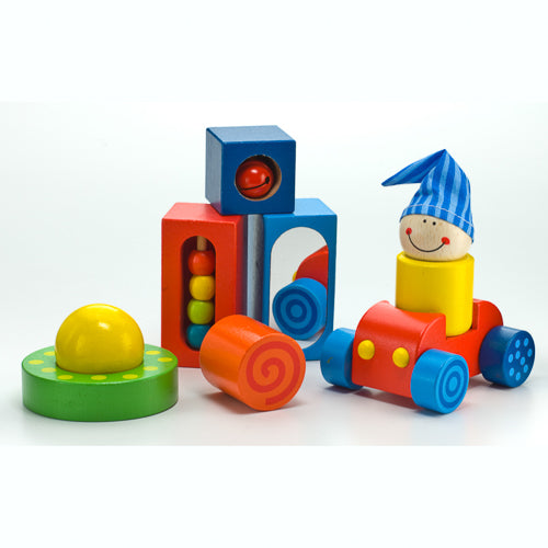 Brightly colored, multi shaped wooden Play Shapes by Haba. The perfect eco-friendly non-toxic toddler toy and preschooler gift.