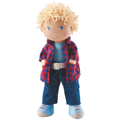 "Keepsake stuffed doll by Haba is a cuddly first friend. The perfect non-toxic, educational infant toy and new baby gift. Suggested for 18 months and up Fits other HABA 12-13.75"" outfits and accessories (sold separately) HABA soft dolls are machine washable on cold (do not spin dry) He stands 12"" tall Comes boxed"